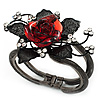 Chic Red Resin Diamante Rose Hinged Bangle Bracelet (Gun Meal Finish)