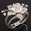 Chic Transparent Resin Diamante Rose Hinged Bangle Bracelet (Silver Tone Finish)