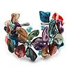 Multicoloured Floral Shell & Simulated Pearl Cuff Bracelet (Silver Tone)