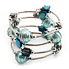 Silver-Tone Beaded Multistrand Flex Bracelet (Light Blue)