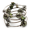 Silver-Tone Beaded Multistrand Flex Bracelet (Olive Green)