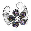 Silver Tone Beaded Flower Wire Flex Cuff Bracelet - 20cm Length