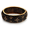 Jet Black 'Heart & Star' Swarovski Crystal Hinged Bangle Bracelet In Antique Gold Metal -19cm Length
