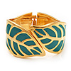 Turquoise Enamel 'Leaf' Hinged Bangle In Gold Plated Metal - 18cm Length