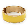 Bright Yellow Enamel Magnetic Bangle Bracelet In Gold Plated Metal - 18cm Length