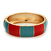 Round Enamel Hinged Bangle Bracelet In Gold Plated Metal (Coral/Light Blue) - 18cm Length