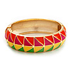 Multicoloured Enamel Oval Hinged Bangle Bracelet In Gold Plated Metal - 18cm Length