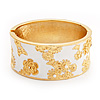 Wide White Enamel 'Flower & Butterfly' Hinged Bangle In Gold Plated Metal - 18cm Length