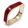 Dark Red Enamel Square Hinged Bangle Bracelet In Gold Plated Metal - 18cm Length