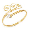 Gold Plated Textured Crystal 'Twirly' Upper Arm Bracelet Armlet