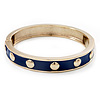 Royal Blue Enamel Gold Studded Hinged Bangle Bracelet - up to 18cm Length