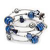 Silver-Tone Beaded Multistrand Flex Bracelet (Navy Blue)