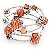 Silver-Tone Beaded Multistrand Flex Bracelet (Orange)