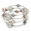 Silver-Tone Beaded Multistrand Flex Bracelet (White)