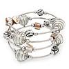 Silver-Tone Beaded Multistrand Flex Bracelet (White)
