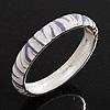 Lavender/White Zebra Pattern Hinged Bangle Bracelet In Rhodium Plated Metal - 18cm