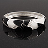 Black/White Enamel Diamante Hinged Bangle Bracelet In Rhodium Plated Metal - 18cm Length