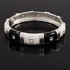 Black/White Segmental Enamel Crystal Hinged Bangle In Rhodium Plated Metal - 19cm Length