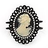 Large Diamante &#039;Classic Cameo&#039; Hinged Bangle Bracelet In Black Metal - up to 18cm wrist