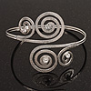 Silver Plated Textured Diamante 'Swirl' Upper Arm Bracelet - Adjustable