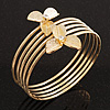 Gold Plated Textured Crystal Flower Upper Arm Bracelet - (Up to 26cm upper arm)