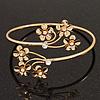 Gold Plated Diamante Floral Upper Arm Bracelet - up to 28cm upper arm