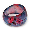 Blue/Pink Floral Print Chunky Resin Bangle Bracelet - up to 18cm wrist
