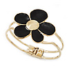 Black Enamel 'Daisy' Floral Hinged Bangle Bracelet In Gold Finish - up to 19cm wris