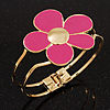 Bright Magenta Enamel &#039;Daisy&#039; Floral Hinged Bangle Bracelet In Gold Finish - up to 19cm wris