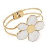 White Enamel 'Daisy' Floral Hinged Bangle Bracelet In Gold Finish - up to 19cm wris