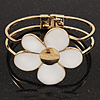 White Enamel 'Daisy' Floral Hinged Bangle Bracelet In Gold Finish - up to 19cm wris