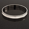 Stylish White Enamel Slip-On Bangle With Clear Swarovski Crystals (Silver Finish) - 18cm Length