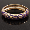 Gold Plated Purple Enamel Swirl Patten Hinged Bangle Bracelet -17cm Length