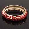 Gold Plated Red Enamel Swirl Patten Hinged Bangle Bracelet -17cm Length