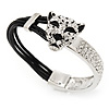 Silver Tone Diamante &#039;Tiger&#039; Leather Cord Bracelet - 17cm Length