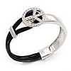 Silver Tone Diamante &#039;Peace&#039; Leather Cord Bracelet - 17cm Length