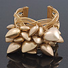 Matt Gold Heart Chunky Cuff Bangle - Adjustable