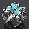 Vintage Turquoise Style 'Butterfly' Cuff Bracelet In Antique Silver Metal - Adjustable
