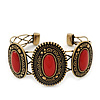 Vintage Burn Gold Hammered Cuff Bangle With Red Stones - Adjustable