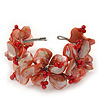 Light Coral Floral Shell & Simulated Pearl Cuff Bracelet In Silver Plating - Adjustable