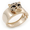 Statement Crystal &#039;Tiger&#039; Hinged Bangle Bracelet In Gold Plating - 18cm Length