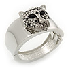 Statement Crystal 'Tiger' Hinged Bangle Bracelet In Silver Plating - 18cm Length