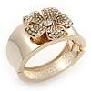 Statement Crystal 'Flower' Hinged Bangle Bracelet In Gold Plating - 18cm Length