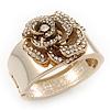 Statement Crystal 'Rose' Hinged Bangle Bracelet In Gold Plating - 18cm Length