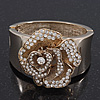 Statement Crystal &#039;Rose&#039; Hinged Bangle Bracelet In Gold Plating - 18cm Length