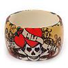 Wide Chunky Acrylic 'Skull&Heart' Bangle Bracelet - up to 20cm wrist