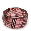 Glittering Faceted Resin 'Tartan Pattern' Bangle Bracelet In Pink/Black - 20cm Length