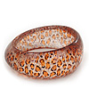 &#039;Leopard Print&#039; Glittering Resin Bangle Bracelet - up to 20cm wrist