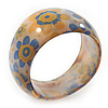 Chunky Resin Floral Bangle Bracelet In Milky Whiten/Yellow/ Light Blue- 20cm Length