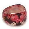 Chunky Resin Floral Bangle Bracelet In Black/Pink/Gold - 20cm Length